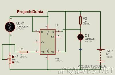 Automatic Street Light Controller Circuit Using LDR And 555 Timer IC