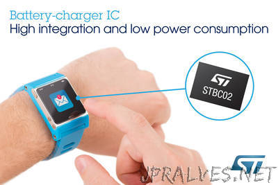 New Battery-Charger Chip from STMicroelectronics Reduces Cost and Time-to-Market for Wearable and Portable Applications