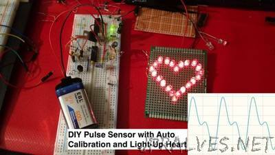DIY Heart Sensor with Auto-Adjusted Threshold and Heart-Shaped LED Heartbeat Indicator