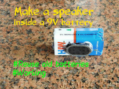 Make a speaker inside a 9V battery