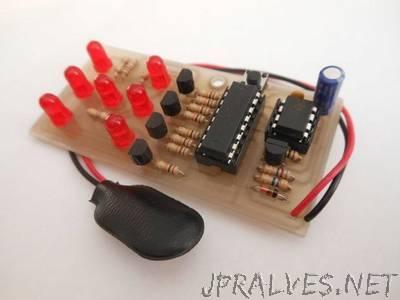 Electronic dice with slowdown - NE555 & CD4017