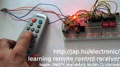 Learning IR remote control receiver