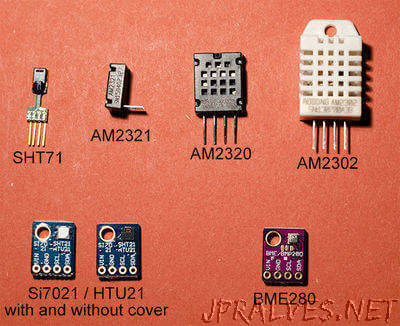 Wide range of Hygrometers: DHT22, AM2302, AM2320, AM2321, SHT71, HTU21D, Si7021, BME280