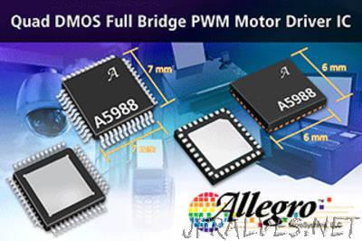 Allegro MicroSystems, LLC Introduces New Quad DMOS Full Bridge PWM Motor Driver IC