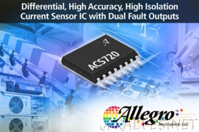 Allegro MicroSystems, LLC Introduces New Differential High Accuracy, High Isolation Current Sensor IC With Dual Fault User Settable Over-Current Fault Outputs