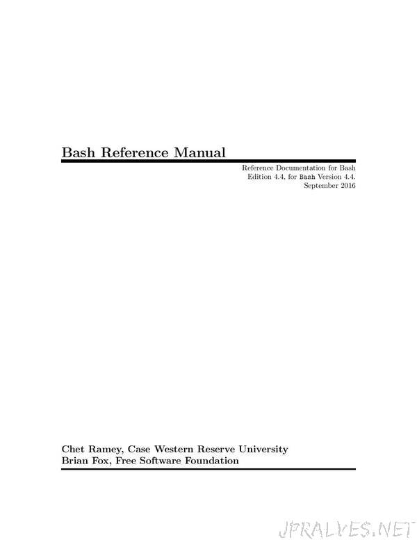 Bash Reference Manual - Reference Documentation for Bash 4.4