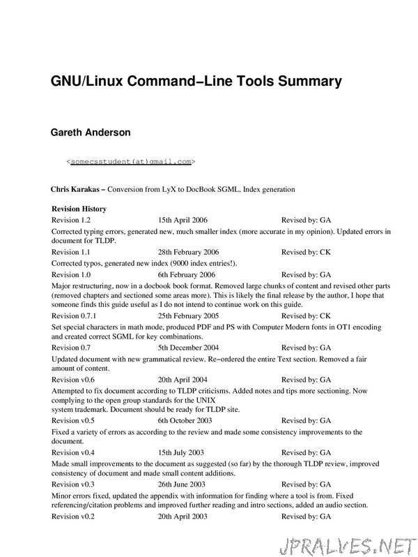 GNU/Linux Command-Line Tools Summary