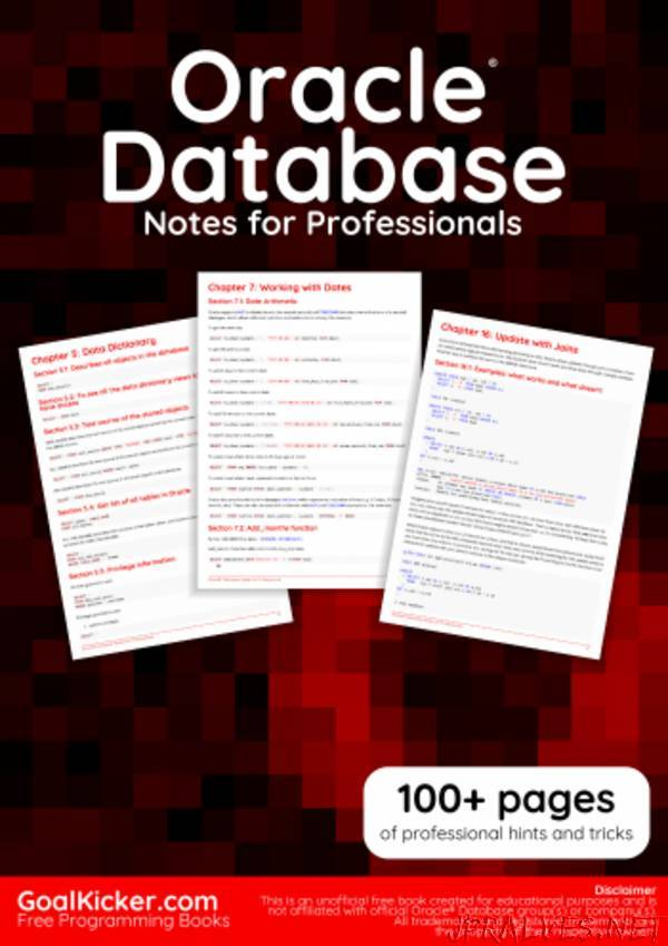 Oracle Database Notes for Professionals book