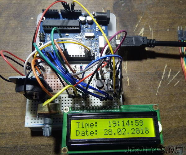 Arduino Clock With DS3231 And LCD1602 - jpralves net