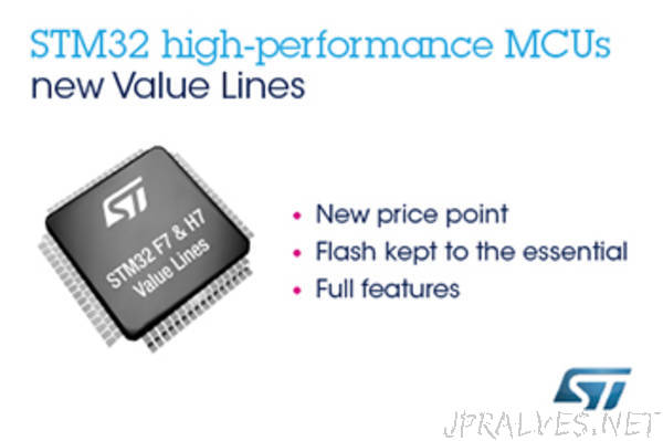 New High- and Very-High-Performance STM32 Value Lines from STMicroelectronics Boost Real-Time IoT-Device Innovation