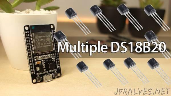 ESP32 with Multiple DS18B20 Temperature Sensors