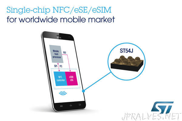 STMicroelectronics Unveils Highly Integrated Mobile-Security Chip Combining NFC Controller, Secure Element, and eSIM