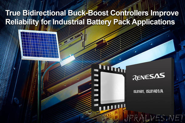 Renesas Electronics Introduces True Bidirectional Synchronous Buck-Boost Controllers for Industrial Battery-Powered Applications