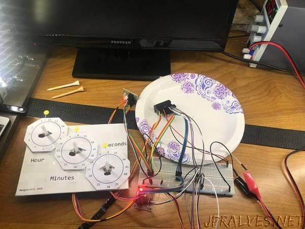 Backward Running Analog Clock with Three Steppers