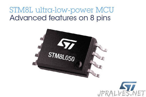 STMicroelectronics STM8L050 Extends Choice and Freedom in 8-bit Microcontrollers, with Rich Analog and DMA in Low-Cost 8-pin Package