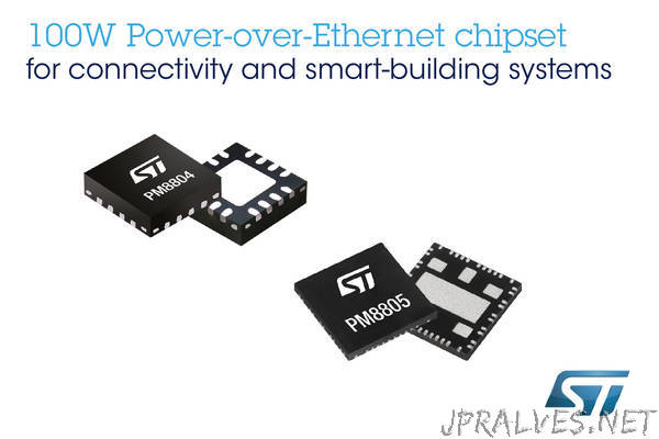 Advanced Chipset from STMicroelectronics Brings New 100W Power-over-Ethernet Standard to Connectivity and Smart-Building Applications