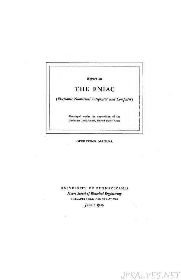 THE ENIAC (Electronic Numerical Integrator and Computer) - Operating Manual